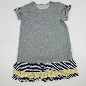 Hanna Andersson 120 gray striped ruffles dress